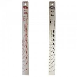 Aluminium Paint Measuring Stick, 200 x 24 x 2mm, 2:1&4:1 Ratios